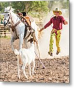 Shawnee Sagers Goat Roping Competition Metal Print