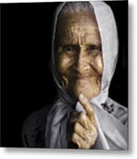 She Bit The Lip To Hide Her Smile Metal Print