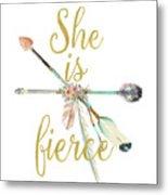She Is Fierce Boho Tribal Gold Blush Arrow Print Metal Print