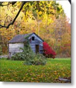 Shed In Autumn Metal Print