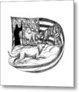 Sheepdog Protect Lamb From Wolf Tattoo Metal Print