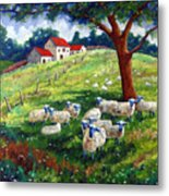 Sheeps In A Field Metal Print