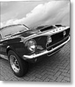 Shelby Gt500kr 1968 In Black And White Metal Print