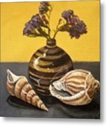 Shells And Stripes Metal Print