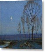 Shepherd And Sheep At Moonlight Metal Print by OB Morgan