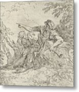 Shepherd Holding A Flute And Two Other Figures In A Landscape Metal Print