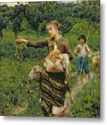 Shepherdess Carrying A Bunch Of Grapes Metal Print
