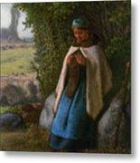 Shepherdess Seated On A Rock Metal Print