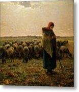 Shepherdess With Her Flock Metal Print by Jean Francois Millet