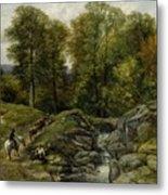 Shepherds Next To A Brook By Thomas Creswick Metal Print