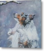 Shetland Sheepdog With Chickadee Metal Print