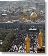 Shia Muslims Around The Husayn Mosque Metal Print by Everett