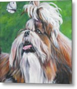 Shih Tzu And Butterfly Metal Print