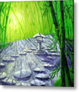 Shinto Lantern In Bamboo Forest Metal Print