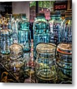 Shiny Glass Jars Metal Print