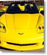 Shiny Yellow Corvette Convertible  Metal Print