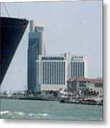 Ship And Shoreline Metal Print