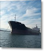 Ship At Anchor In The Columbia River Metal Print