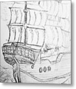 Ship At Sea Metal Print