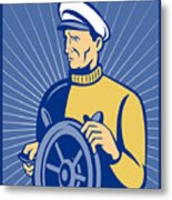 Ship Captain At The Helm  Metal Print
