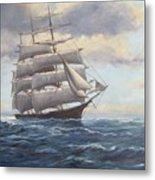Ship Coming Out Of Morning Fog Metal Print