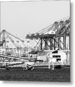 Ship Container Cranes Blk Wht Metal Print