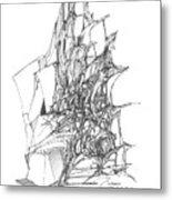Ship Embedded In Rocks Metal Print