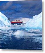 Ship In Between Icebergs Metal Print