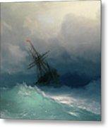 Ship On Stormy Seas Metal Print