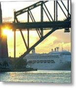 Ship Under Sydney Harbour Bridge Metal Print