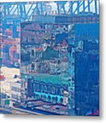 Shipping Containers And Building Windows Reflecting Graffiti  Art Of Valparaiso-chile Metal Print