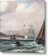 Shipping Off Newhaven Harbour Metal Print