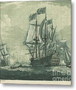 Shipping Scene With Man-of-war Metal Print