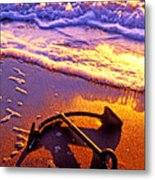 Ships Anchor On Beach Metal Print