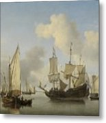Ships At Anchor On The Coast  Willem Van De Velde II C 1660 Metal Print