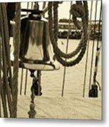 Ship's Bell Sepia Metal Print