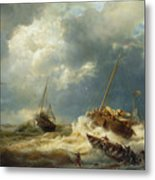 Ships In A Storm On The Dutch Coast Metal Print