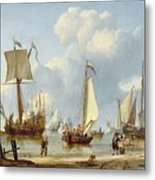 Ships In Calm Water With Figures By The Shore Metal Print