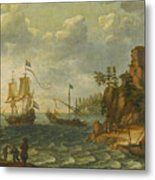 Ships Moored Off A Rocky Coastline With Fishermen Unloading Their Catch Metal Print