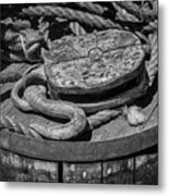 Ships Rope And Pully Metal Print
