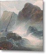 Shipwreck Off A Rocky Coast Metal Print