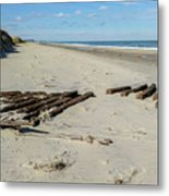 Shipwreck On The Beach Metal Print