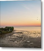 Shipwreck Sunset Panorama  Metal Print
