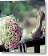 Shoes And Wedding Bouquet Metal Print