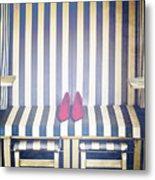Shoes In A Beach Chair Metal Print