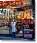 Shop Owner Standing In Front Of Poultry Shop On Temple Street Night Market Kowloon Hong Kong China Metal Print
