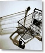 Shopping Cart Reflection Art  Metal Print