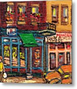St Viateur Bagel Shop And Mehadrins Kosher Deli Best Original Montreal Jewish Landmark Painting  Metal Print