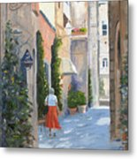 Shopping In Orvieto Metal Print