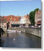Shops Along The Canal Metal Print